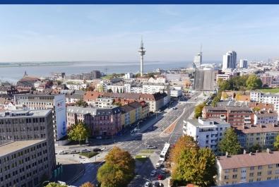 Bremerhaven-Geestemünde: Meer am Horizont zu sehen